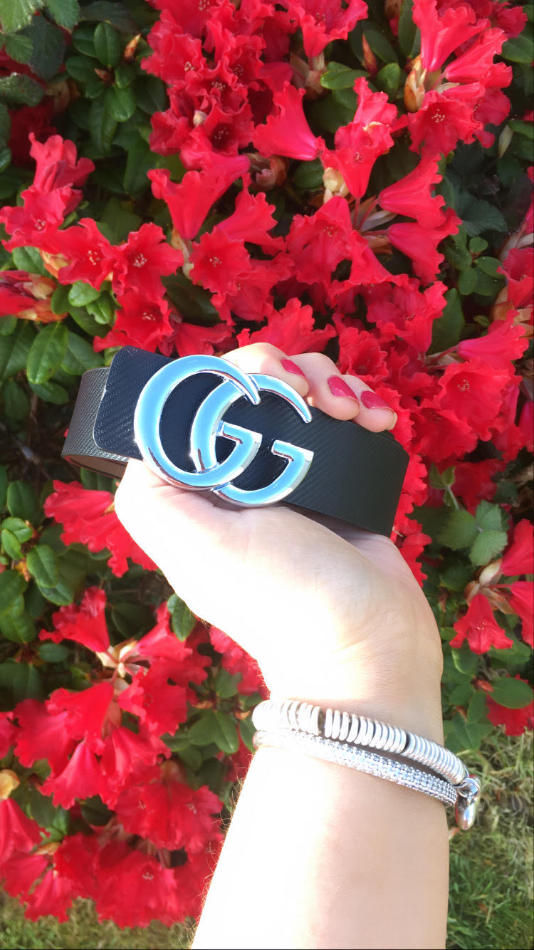 Black GG Silver Belt